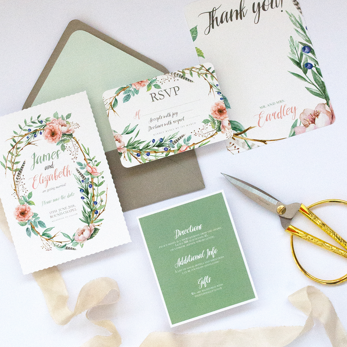 Boho wedding invitation set – viollaz